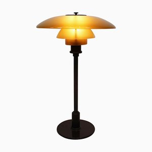PH 3/2 Table Lamp with Shades of Amber Colored Glass by Poul Henningsen for Louis Poulsen, 1930s