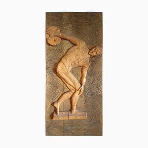 Mid-Century Hand-Carved Wood Panel of an Athlete, 1943