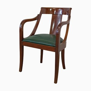 French Empire Green Leather Desk Chair