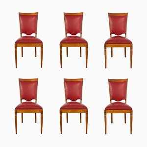 Mid-Century French Red Leather Dining Chairs, 1960s, Set of 6