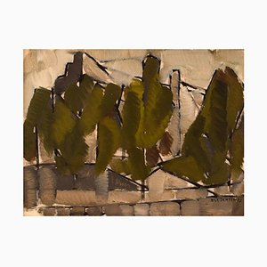 Danish Oil on Canvas Modernist Landscape with Trees by Ole Jensen, 1952