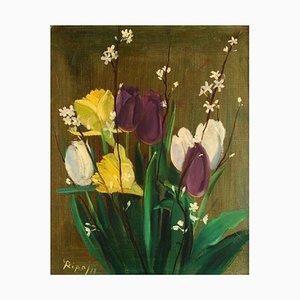 Swedish Oil on Canvas Arrangement of Flowers by Hans Ripa, 1977