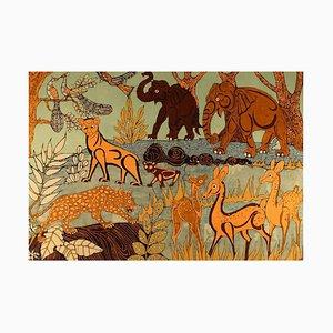 Textile Art Fabric on Board Naivistic Jungle Motif