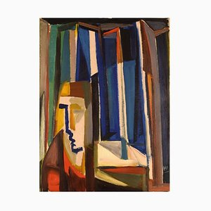 Scandinavian Oil on Canvas Abstract Composition with Face, 1960s