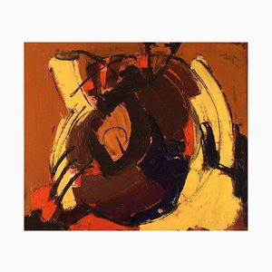 Scandinavian Oil on Canvas Abstract Composition, 1960s