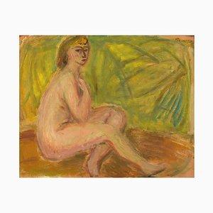 Swedish Oil on Board Model Nude Study by Pär Lindblad, 1949