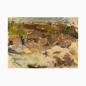Swedish Oil on Canvas Modernist Landscape by Rune P