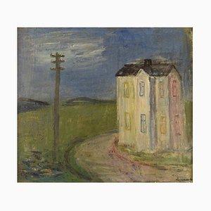 Swedish Oil on Canvas Modernist Landscape by Pär Lindblad, 1946