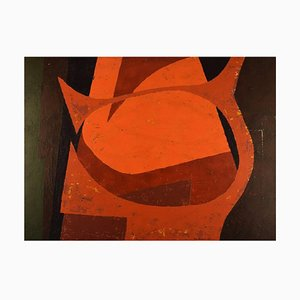 Swedish Oil on Canvas Abstract Composition by Nils Karlsson, 1968