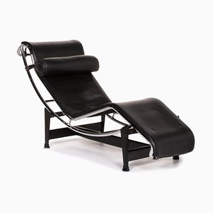 Black Leather LC4 Daybed with Relax Function by Le Corbusier for Cassina