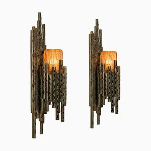 Brutalist Wall Sconces with Murano Glass by Marcello Fantoni, 1960s, Set of 2