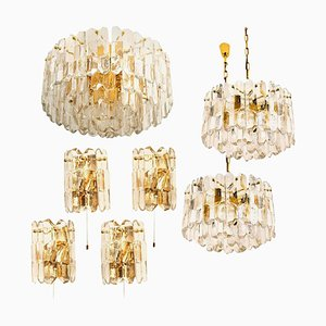 Palazzo Light Fixtures in Gilt Brass and Glass by J.T. Kalmar, 1970s, Set of 7
