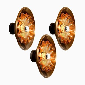 Dark Brass and Glass Sconce by Raak, Netherlands, 1970s