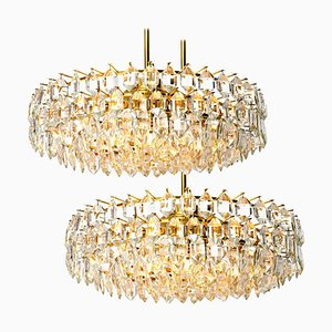 Brass and Crystal Glass Chandeliers by Bakalowits & Söhne, Austria, 1960s, Set of 2