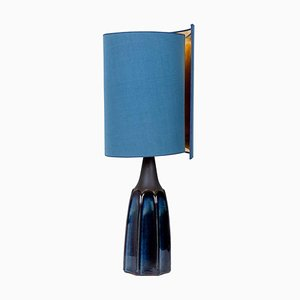 Table Lamp with Silk Lampshade by Soholm Pottery, 1960s