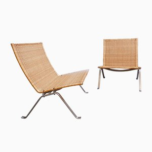 Steel and Wicker PK-22 Easy Chairs by Poul Kjærholm for Fritz Hansen, Denmark, 1990s, Set of 2