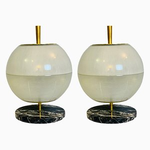 Brass and Marble Table Lamps from Galassia, Italy, 1964, Set of 2
