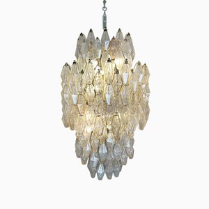 Venini Glass Chandelier Polyhedr by Carlo Scarpa, 1950s
