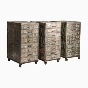 Industrial Brushed Steel Distressed Look Wheeled Filing Cabinets with Drawers, 1950s