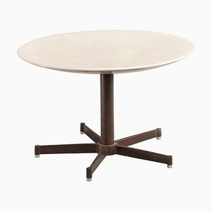 Italian Industrial Rounded Ceramic and Iron Table by Castagna, 1980s