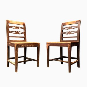 Antique Swedish Kitchen Chairs, Set of 2