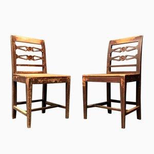 Antique Swedish Kitchen Chairs, Set of 2