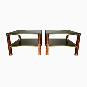 Italian Two-Tier Brass, Smoked Glass, and Faux Burl Wood Side Tables by Milo Baughman, 1980s, Set of 2