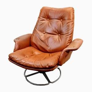 Swedish Swivel Lounge Chair by Bruno Mathsson for Dux, 1970s
