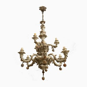 Large Antique Porcelain Chandelier from Capodimonte, 1920s