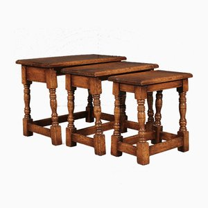 Ipswich Oak Nesting Tables, 1920s, Set of 3