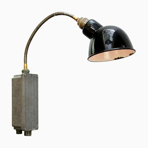 Vintage Industrial Black Enamel Flexible Arm Sconce