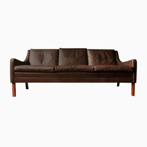 Mid-Century Danish Dark Brown Leather 3-Seater Sofa with Rosewood Feet, 1960s