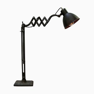 Vintage Industrial Black Metal Scissor Table Lamp, 1920s