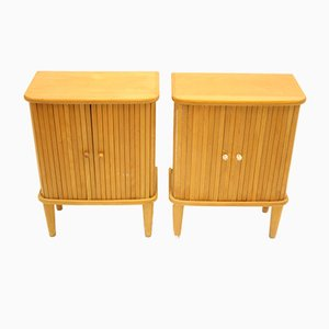 Beech Bedside Tables with Roller Doors, 1966, Set of 2