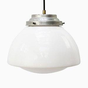 Vintage Industrial White Opaline Glass and Metal Pendant Lamp, 1950s