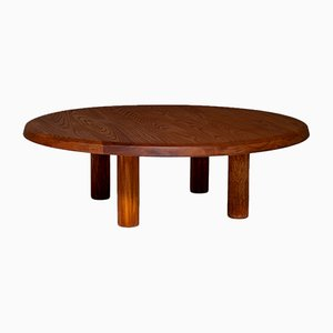 Mid-Century French Round Solid Elm Coffee Table, 1960s
