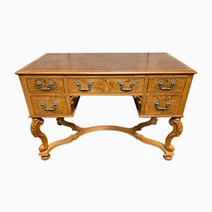 Vintage English Burl Walnut Desk, 1920s