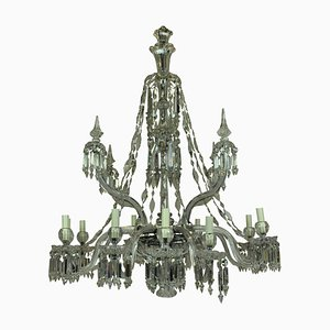 Antique Neoclassical Crystal and Cut Glass Chandelier from F & C Osler