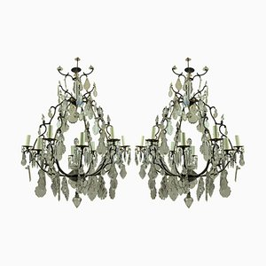 Large French Bronze and Cut Glass Chandeliers, 1950s, Set of 2