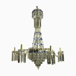 Antique English Cut Glass Cascade Chandelier, 1870s