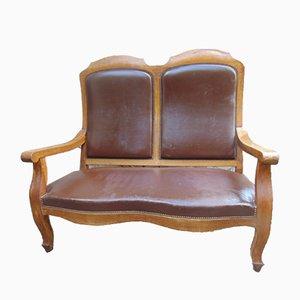 Vintage Art Deco Oak Double Sofa