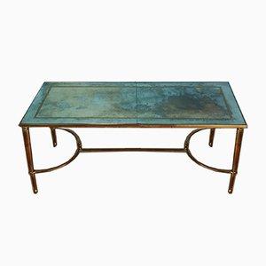 Brass & Mercury Glass Coffee Table by Maison Jansen, 1960s