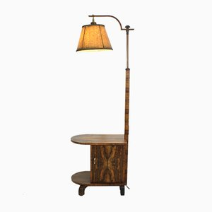 Art Deco Rosewood Floor Lamp with Side Table, 1930s