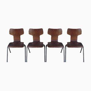 Mid-Century T Form Esszimmerstühle, 4er Set