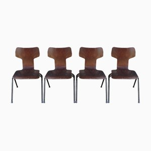 Mid-Century T Shaped Dining Chairs, Set of 4