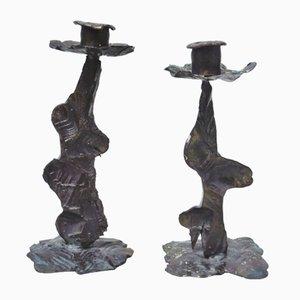 Brutalist Candleholders, 1960s, Set of 2