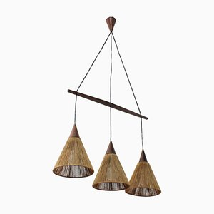 Danish Modern Rope and Teak Chandelier, 1950s