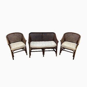 Vintage Rattan and Wicker Living Room Set, 1970s, Set of 3