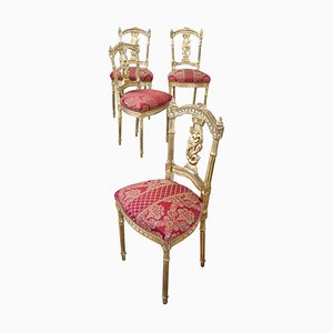 Vintage Carved and Gilded Wood Dining Chairs, 1920s, Set of 4