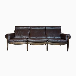 Leather and Wood 3-Seater Sofa from Durlet, 1960s